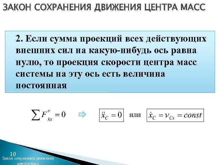 ЗАКОН СОХРАНЕНИЯ ДВИЖЕНИЯ ЦЕНТРА МАСС 2. Если сумма проекций всех действующих внешних сил на