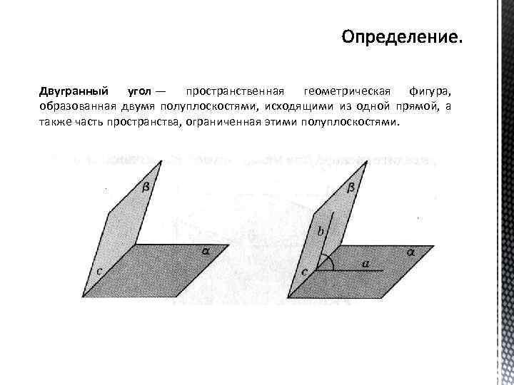 Двугранный угол — пространственная геометрическая фигура, образованная двумя полуплоскостями, исходящими из одной прямой, а