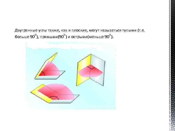 Двугранные углы также, как и плоские, могут называться тупыми (т. е. больше 90°), прямыми(90°)