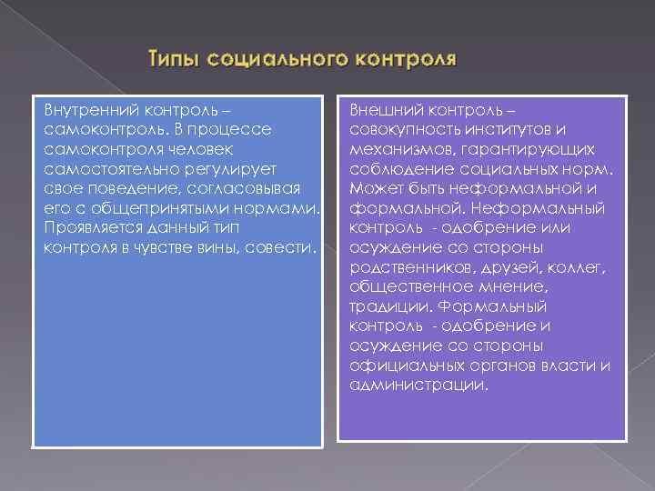 Типы социального контроля Внутренний контроль – самоконтроль. В процессе самоконтроля человек самостоятельно регулирует свое