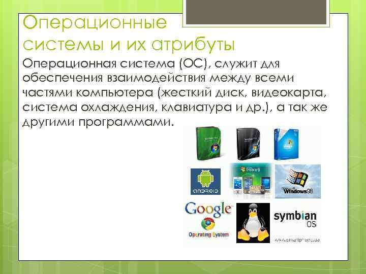 Операционные системы и их атрибуты Операционная система (ОС), служит для обеспечения взаимодействия между всеми
