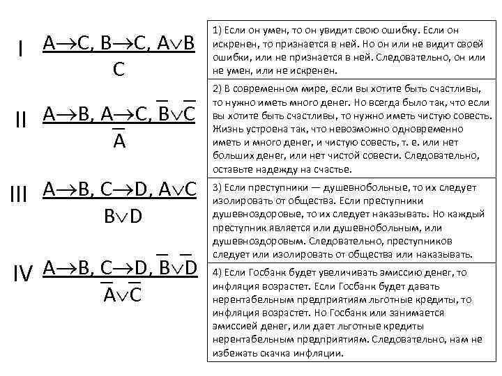 I A C, B C, A B C II A B, A C, B