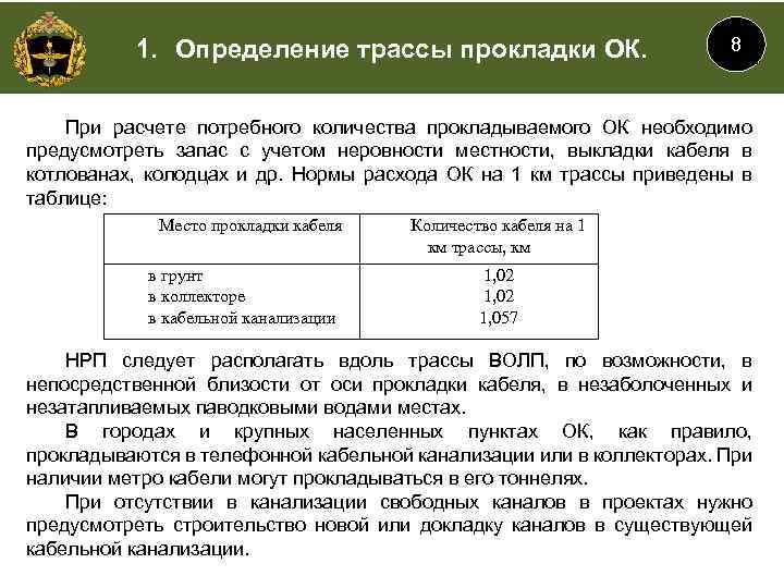 1. Определение трассы прокладки ОК. 8 При расчете потребного количества прокладываемого ОК необходимо предусмотреть