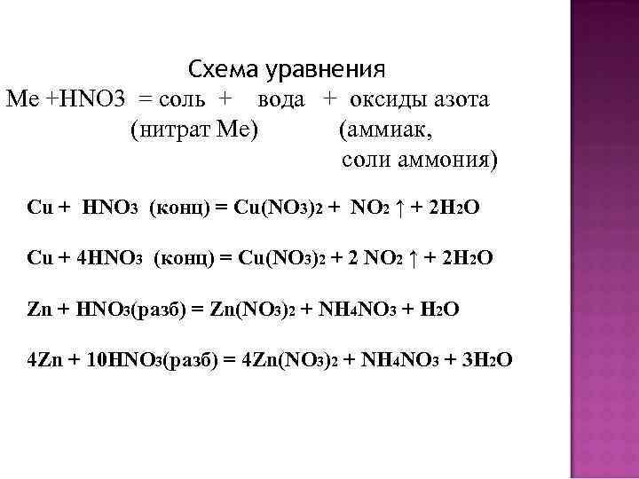 Схема уравнения Ме +HNO 3 = соль + вода + оксиды азота (нитрат Ме)