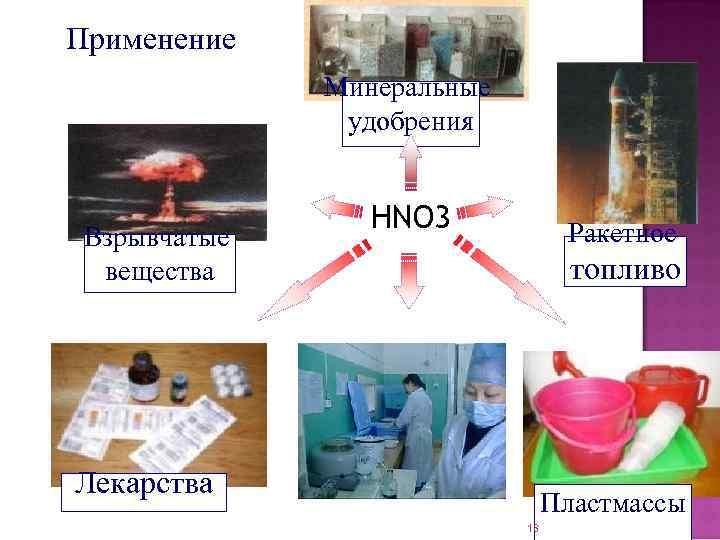 Применение Минеральные удобрения Взрывчатые вещества HNO 3 Ракетное топливо Лекарства Пластмассы 18