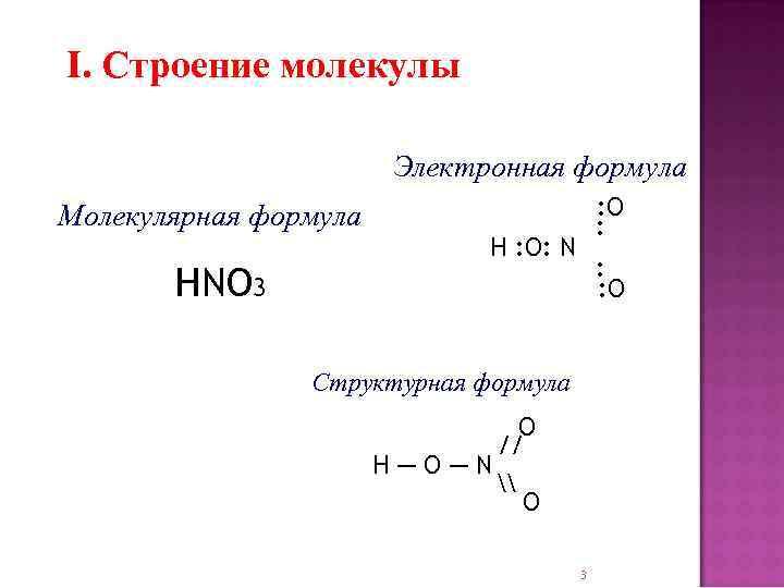 I. Строение молекулы Электронная формула Молекулярная формула HNO 3 : O : H :