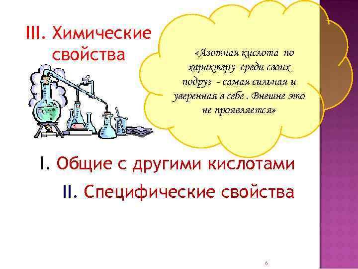 III. Химические свойства «Азотная кислота по характеру среди своих подруг - самая сильная и