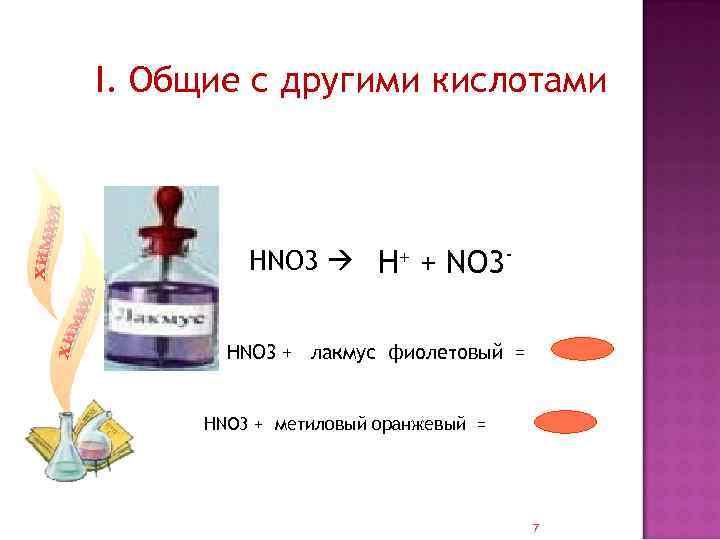 I. Общие с другими кислотами НNO 3 H+ + NO 3 НNO 3 +