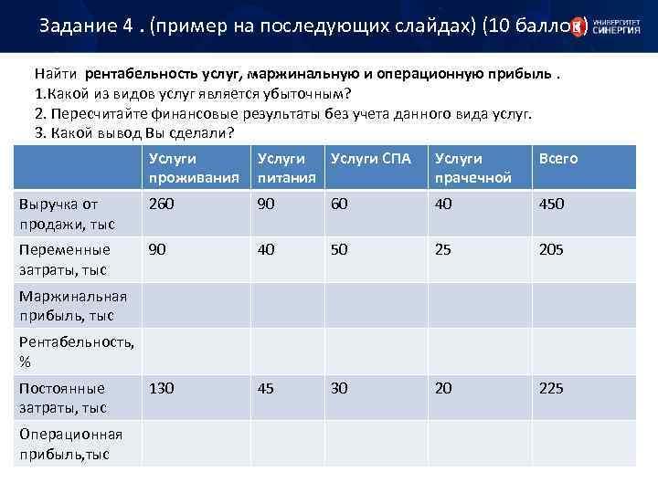 Задание 4. (пример на последующих слайдах) (10 баллов) Найти рентабельность услуг, маржинальную и операционную