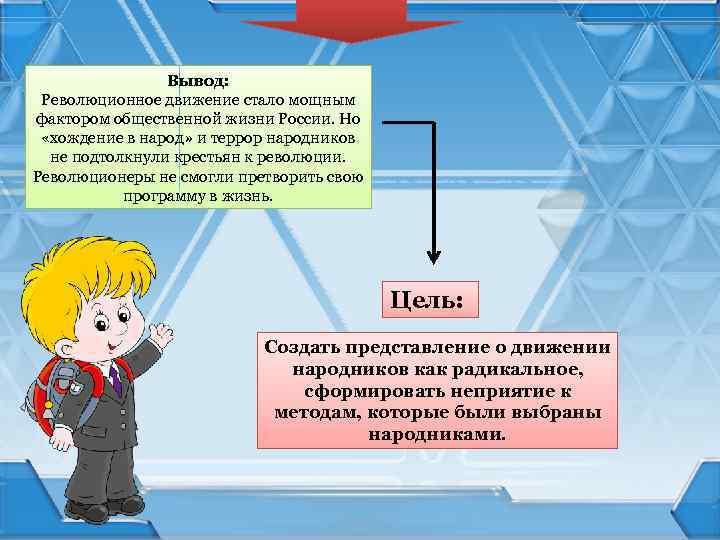 Вывод: Революционное движение стало мощным фактором общественной жизни России. Но «хождение в народ» и