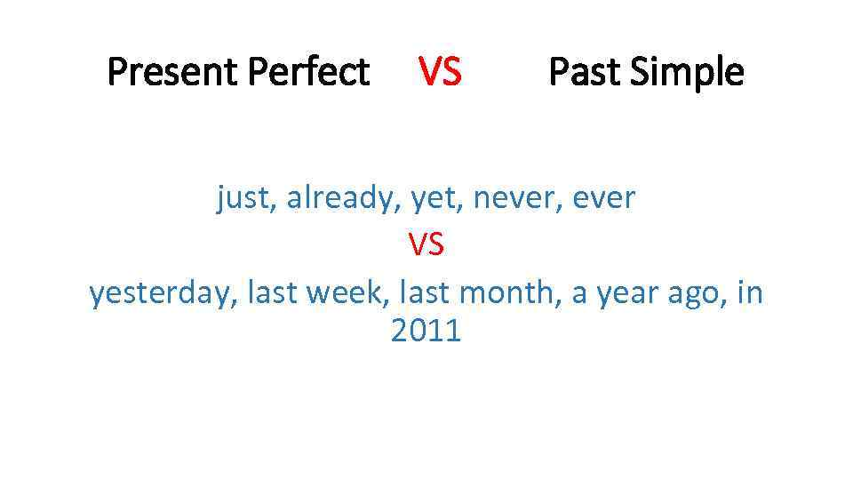 Present Perfect VS Past Simple just, already, yet, never, ever VS yesterday, last week,