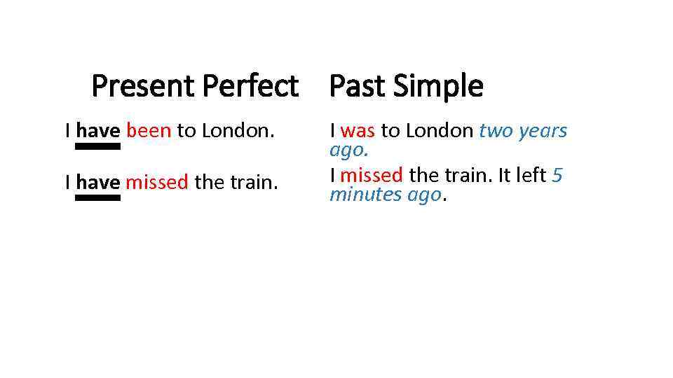 Present Perfect Past Simple I have been to London. I have missed the train.