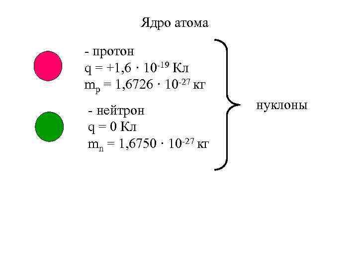 Ядро атома - протон q = +1, 6 · 10 -19 Кл mp =