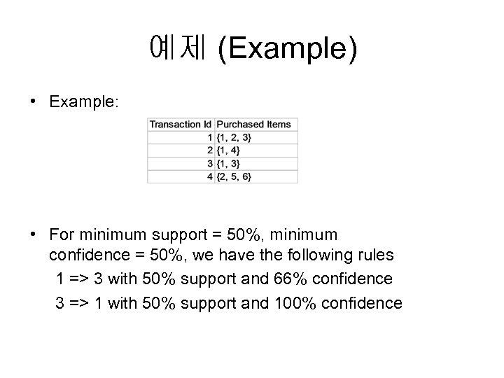 예제 (Example) • Example: • For minimum support = 50%, minimum confidence = 50%,
