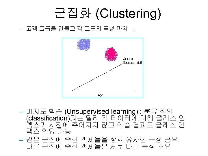 군집화 (Clustering) – 고객 그룹을 만들고 각 그룹의 특성 파악 : – 비지도 학습