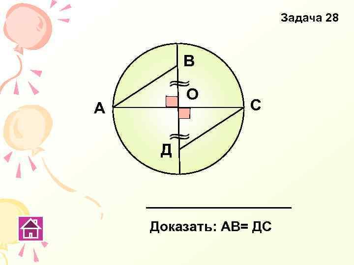 Задача 28 В О А С Д Доказать: АВ= ДС