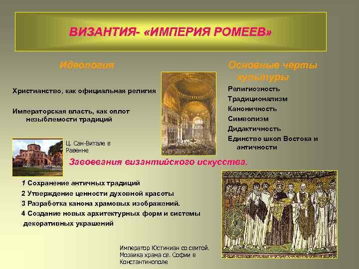 ВИЗАНТИЯ- «ИМПЕРИЯ РОМЕЕВ» «Единая власть, единая вера, единый закон» Идеология Основные черты культуры Христианство,