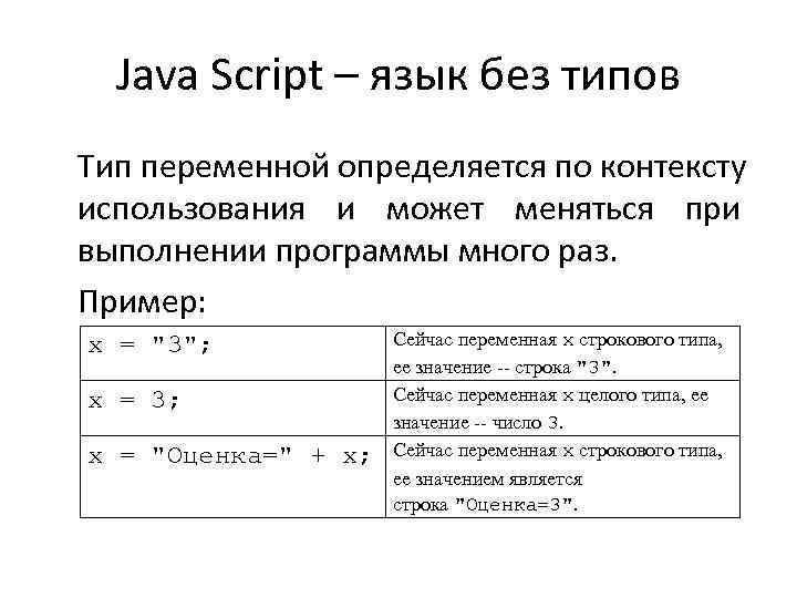Java Script – язык без типов Тип переменной определяется по контексту использования и может
