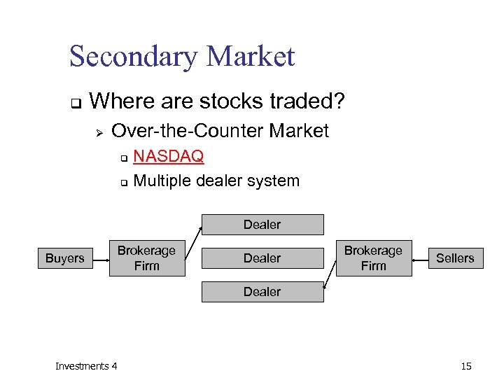 Secondary Market q Where are stocks traded? Ø Over-the-Counter Market NASDAQ q Multiple dealer