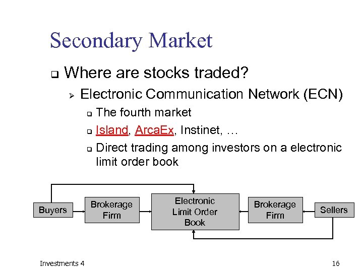 Secondary Market q Where are stocks traded? Ø Electronic Communication Network (ECN) The fourth