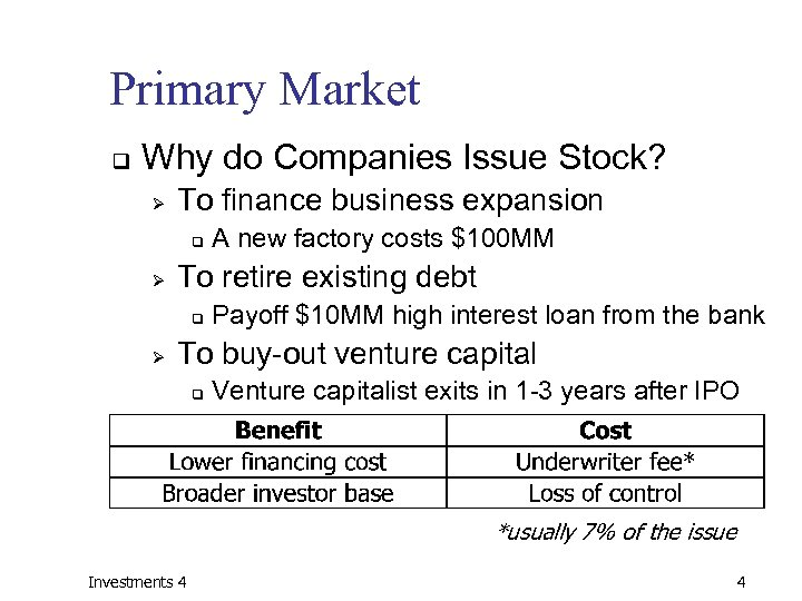 Primary Market q Why do Companies Issue Stock? Ø To finance business expansion q