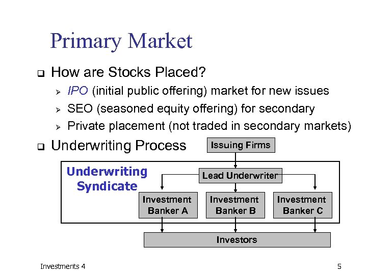 Primary Market q How are Stocks Placed? Ø Ø Ø q IPO (initial public