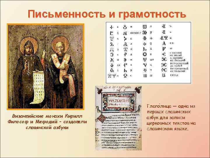 Письменность и грамотность Византийские монахи Кирилл Философ и Мефодий – создатели славянской азбуки Глаго