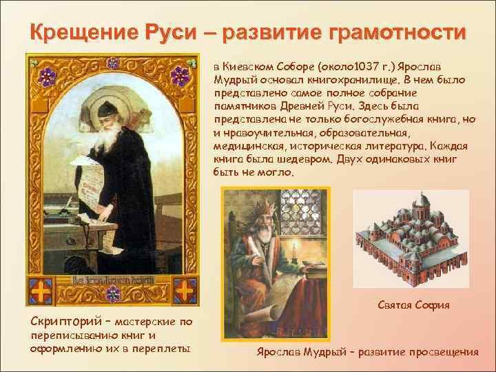 Крещение Руси – развитие грамотности в Киевском Соборе (около 1037 г. ) Ярослав Мудрый