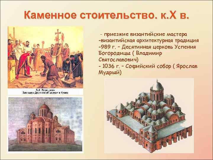 Каменное стоительство. к. X в. - приезжие византийские мастера -византийская архитектурная традиция -989 г.