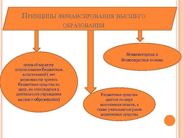 ПРИНЦИПЫ ФИНАНСИРОВАНИЯ ВЫСШЕГО ОБРАЗОВАНИЯ безвозмездная и безвозвратная основа целевой характер использования бюджетных ассигнований (
