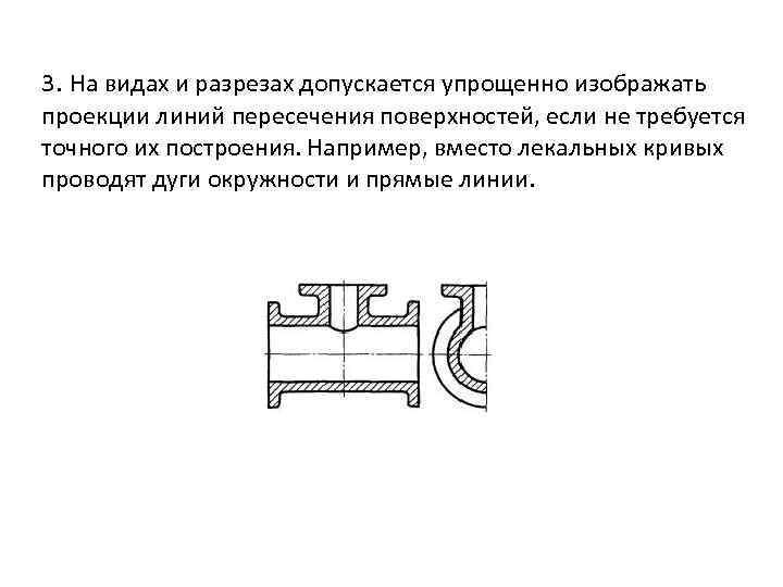 3. На видах и разрезах допускается упрощенно изображать проекции линий пересечения поверхностей, если не