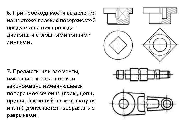 6. При необходимости выделения на чертеже плоских поверхностей предмета на них проводят диагонали сплошными