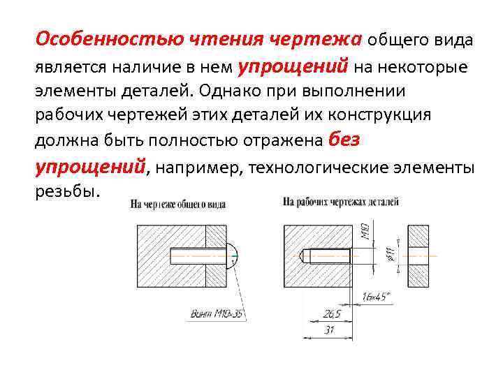 Особенностью чтения чертежа общего вида является наличие в нем упрощений на некоторые элементы деталей.