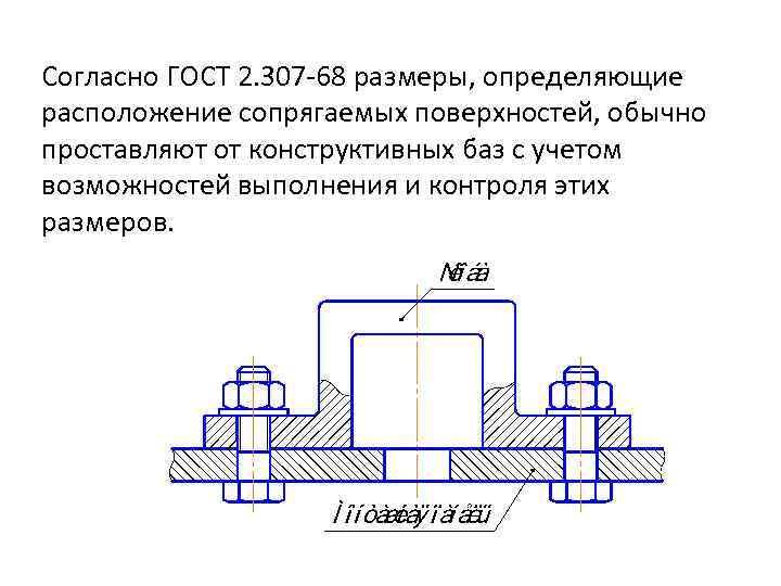 Согласно ГОСТ 2. 307 -68 размеры, определяющие расположение сопрягаемых поверхностей, обычно проставляют от конструктивных