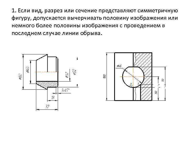 1. Если вид, разрез или сечение представляют симметричную фигуру, допускается вычерчивать половину изображения или