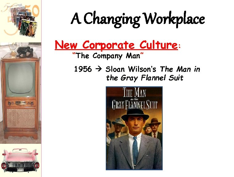 """A Changing Workplace New Corporate Culture: """"The Company Man"""" 1956 Sloan Wilson's The Man"""