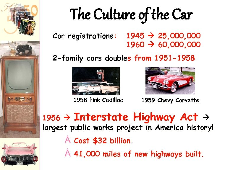The Culture of the Car registrations: 1945 25, 000 1960 60, 000 2 -family