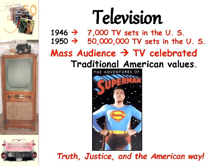 1946 1950 Television 7, 000 TV sets in the U. S. 50, 000 TV