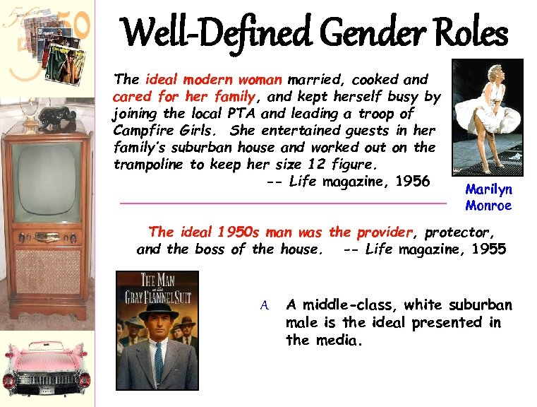 Well-Defined Gender Roles The ideal modern woman married, cooked and cared for her family,