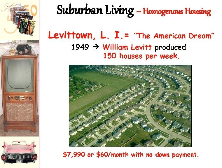 "Suburban Living – Homogenous Housing Levittown, L. I. = ""The American Dream"" 1949 William"