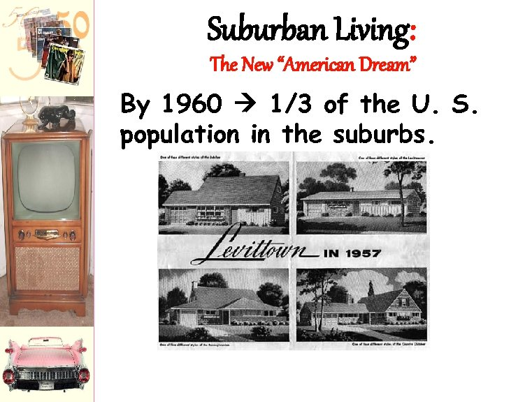 """Suburban Living: The New """"American Dream"""" By 1960 1/3 of the U. S. population"""