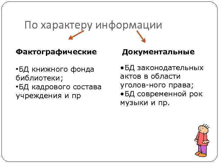 По характеру информации Фактографические Документальные • БД книжного фонда библиотеки; • БД кадрового состава