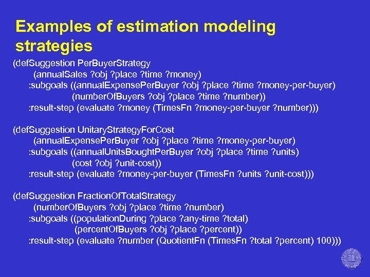 Examples of estimation modeling strategies (def. Suggestion Per. Buyer. Strategy (annual. Sales ? obj