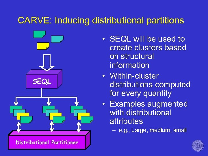 CARVE: Inducing distributional partitions SEQL • SEQL will be used to create clusters based