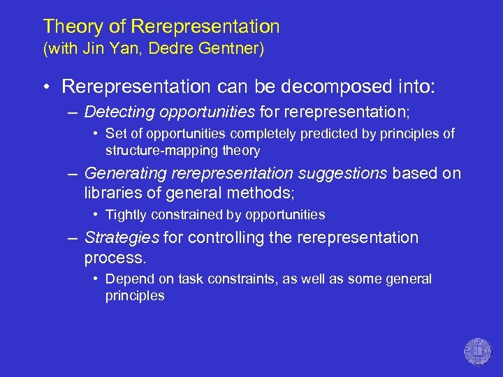 Theory of Rerepresentation (with Jin Yan, Dedre Gentner) • Rerepresentation can be decomposed into: