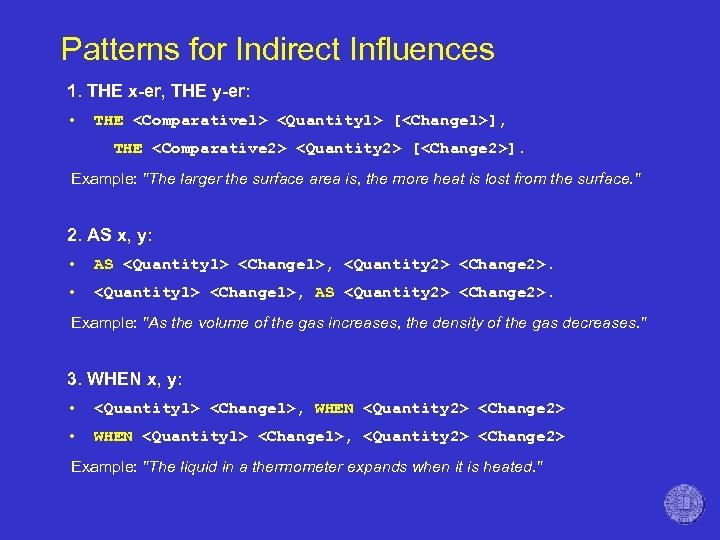 Patterns for Indirect Influences 1. THE x-er, THE y-er: • THE <Comparative 1> <Quantity