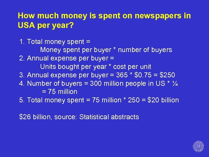 How much money is spent on newspapers in USA per year? 1. Total money