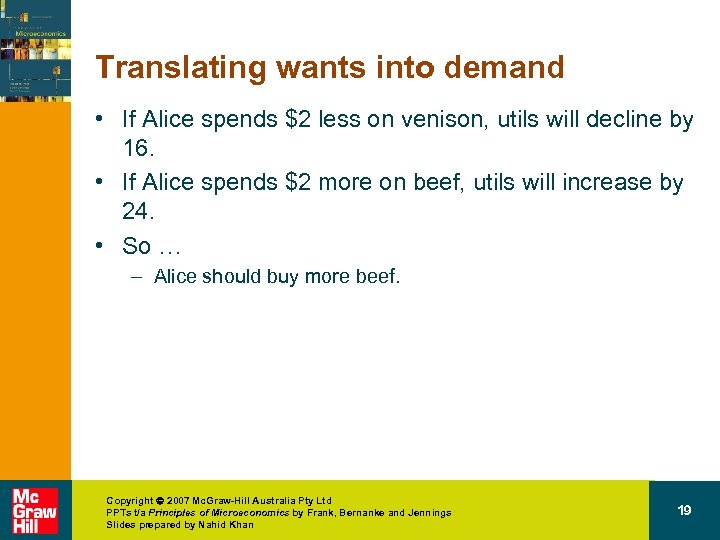 Translating wants into demand • If Alice spends $2 less on venison, utils will