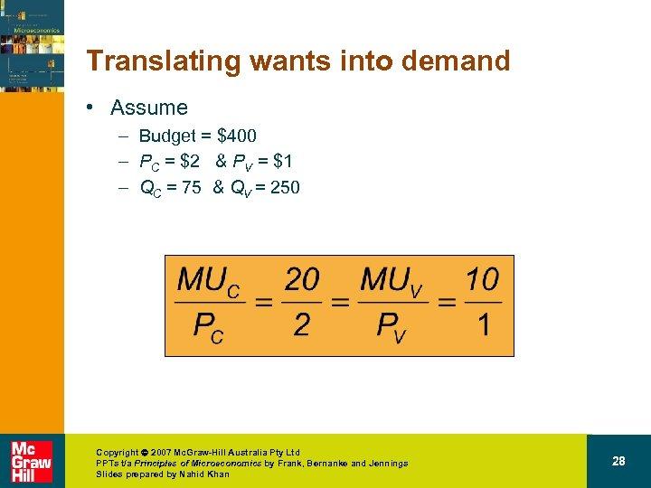 Translating wants into demand • Assume – Budget = $400 – PC = $2