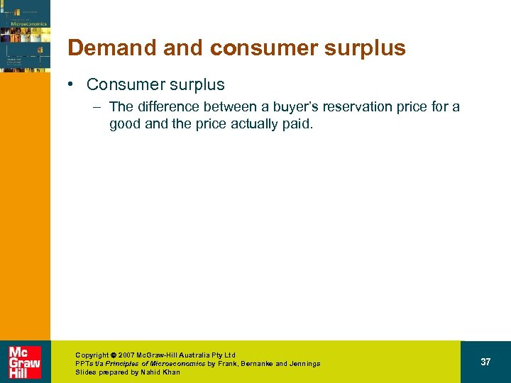 Demand consumer surplus • Consumer surplus – The difference between a buyer's reservation price